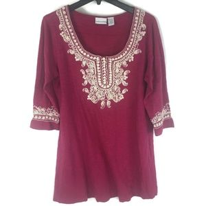 Soft Surroundings Embroidered Tunic Top Sz XL